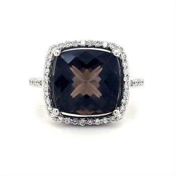 Smokey Quartz and Diamond Ring