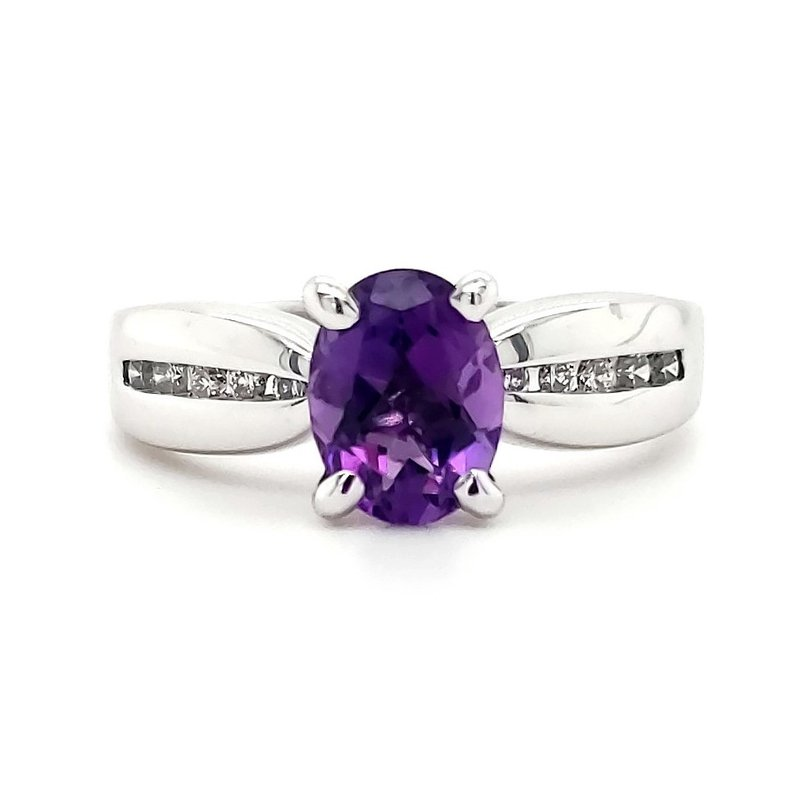 Estate Collection Amethyst and Diamond Ring