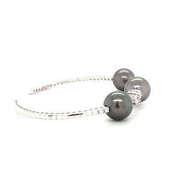 Pearl and Diamond Cuff Bracelet