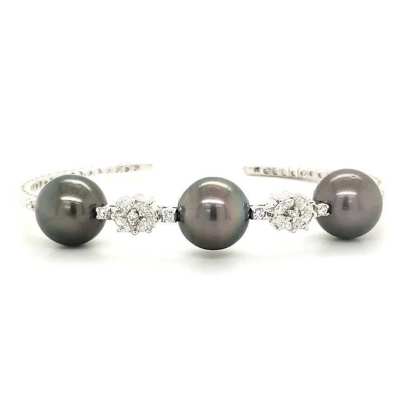 Estate Collection Pearl and Diamond Cuff Bracelet