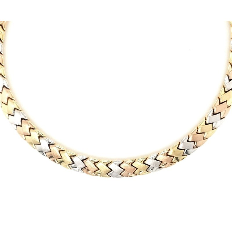 Estate Collection Tri Color Omega Style Necklace