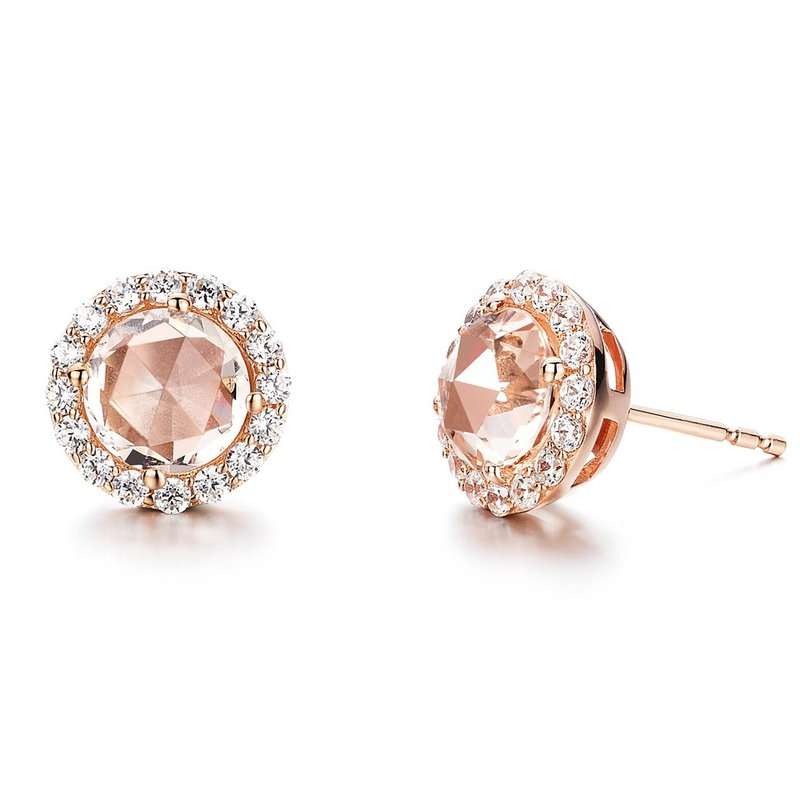 Sartor Hamann Signature Rose plated silver & Morganite earrings