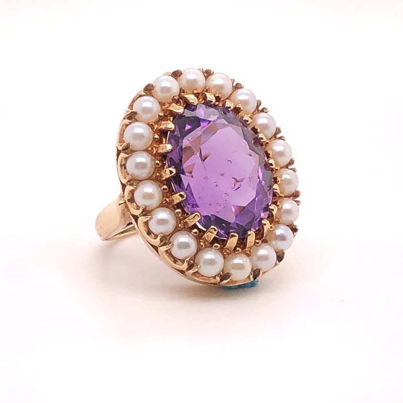 Estate Collection Amethyst and Pearl Ring