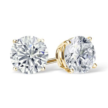 Diamond Stud Earrings - Superior Quality in Yellow Gold 1/20 CT to 1 CT T.W.