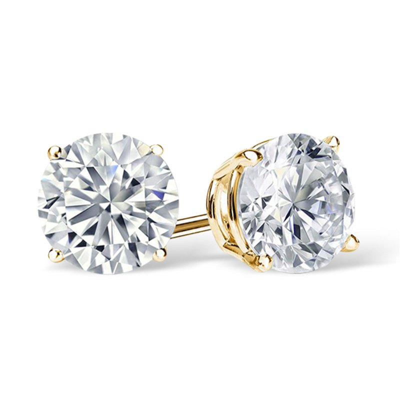 Sartor Hamann Signature Diamond Stud Earrings - Superior Quality in Yellow Gold 1/20 CT to 1 CT T.W.