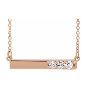 14K Rose Gold Diamond Bar Pendant