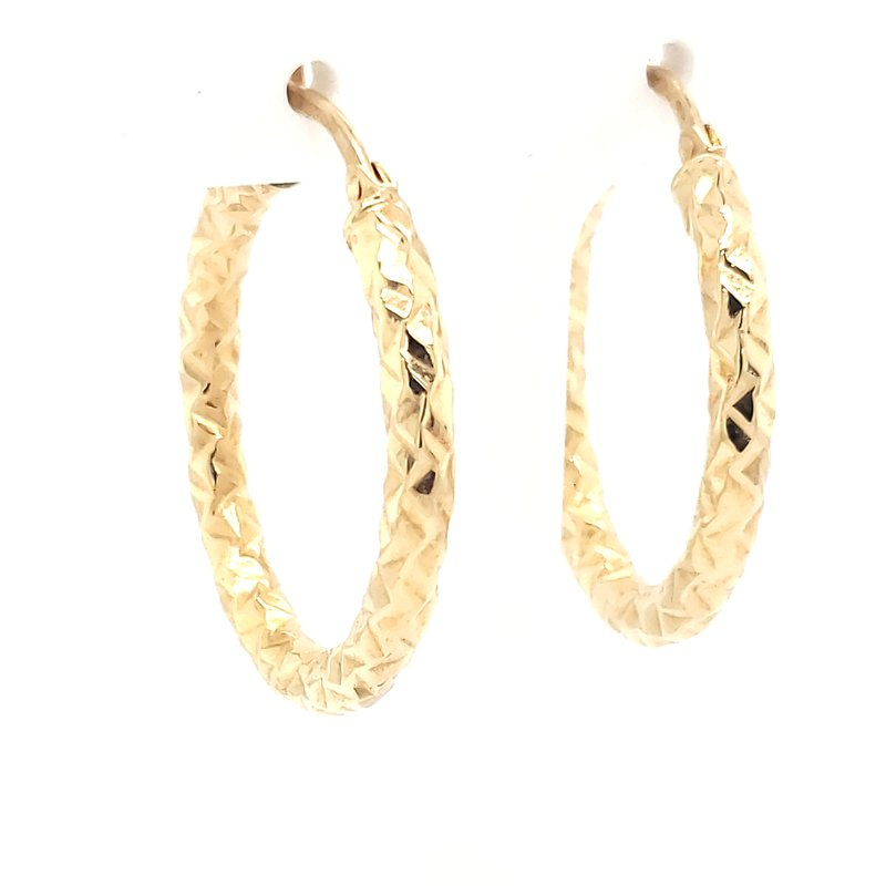 Estate Collection Diamond Cut Gold Hoops