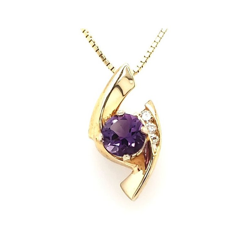 Estate Collection Amethyst and Diamond Pendant