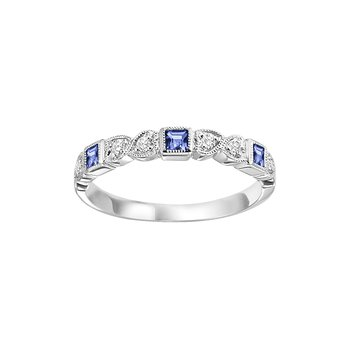 Blue Sapphire Mixable Birthstone Rings in 4 Styles