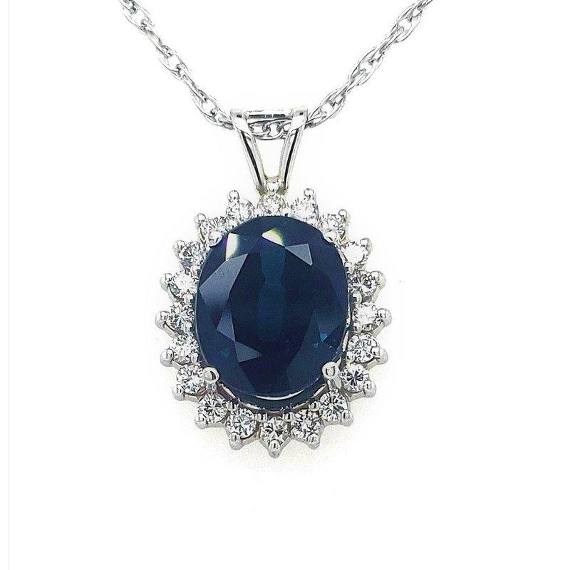 Estate Collection Sapphire and Diamond Pendant