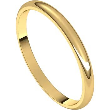 Wedding Band 2mm Yellow Gold