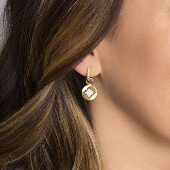 18K Gold Diamond Earring Charms