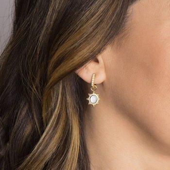 18K Gold Moonstone Earring Charms