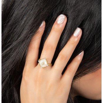 18K Gold Moonstone & Diamond Ring