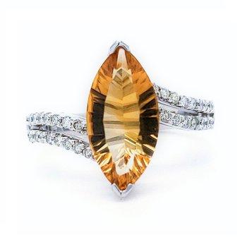 Marquise Citrine Ring