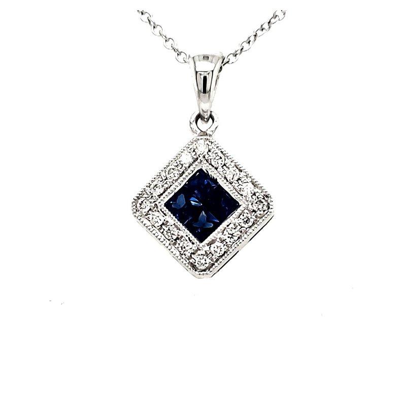 Sartor Hamann Closeouts Sapphire and Diamond Pendant