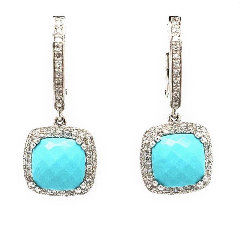 Sartor Hamann Closeouts Turquoise and Diamond Earrings