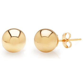 14KT Yellow Gold Ball Stud Earrings in 4 Sizes