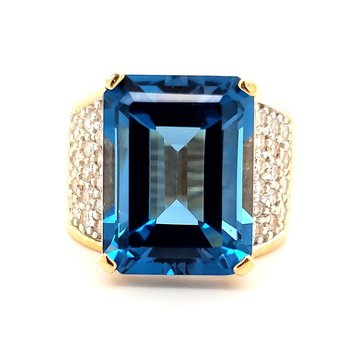 Large Topaz and Diamond Ring