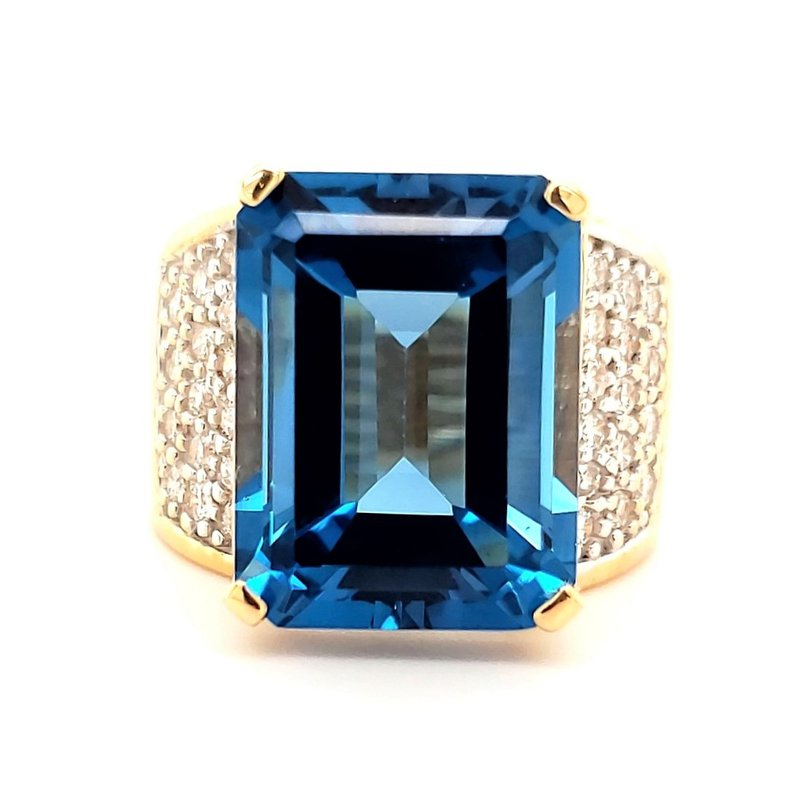 Estate Collection Large Topaz and Diamond Ring
