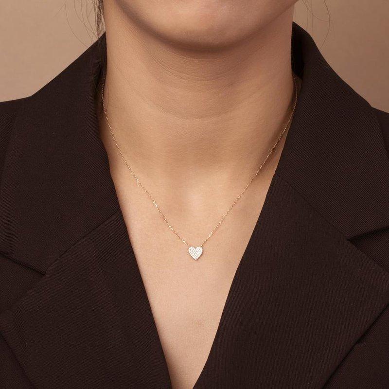 Aurelie Gi Elsie Diamond Pave Heart Necklace