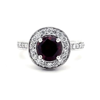 Garnet and Diamond Crown Ring