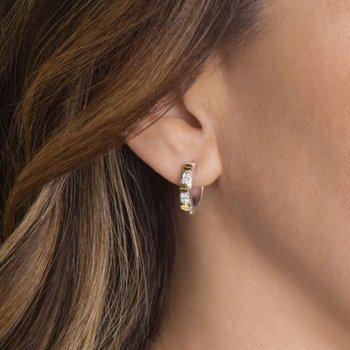Sterling Silver and 18K Gold Hoop Earrings