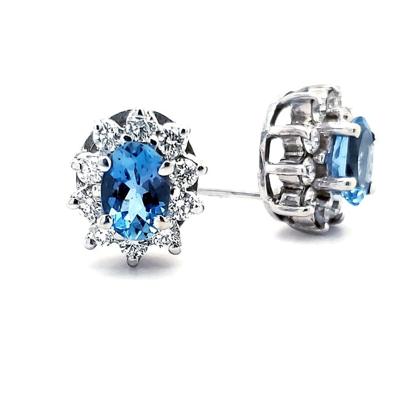 Sartor Hamann Closeouts Aquamarine and Diamond Earrings
