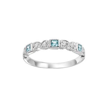 Blue Topaz Mixable Birthstone Rings in 4 Styles
