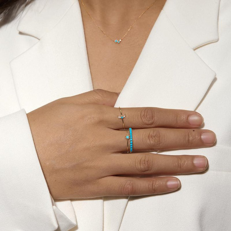 Aurelie Gi Nora Turquoise and White Sapphire Crescent Moon RIng