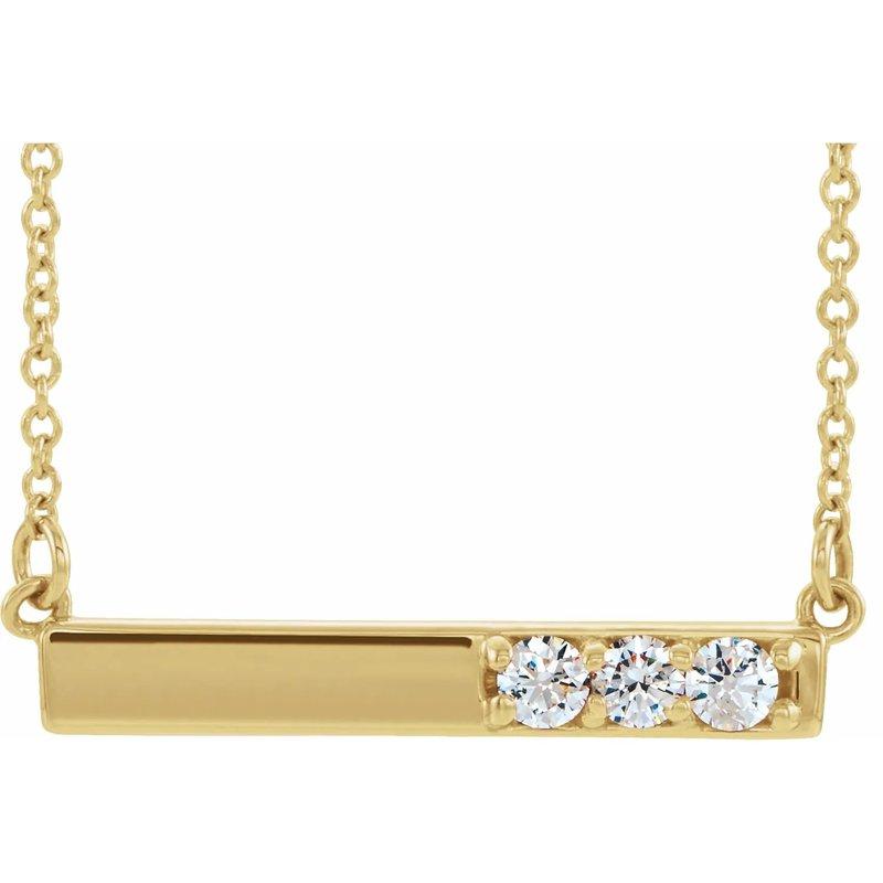 Sartor Hamann Signature 14K Yellow Gold Diamond Bar Pendant
