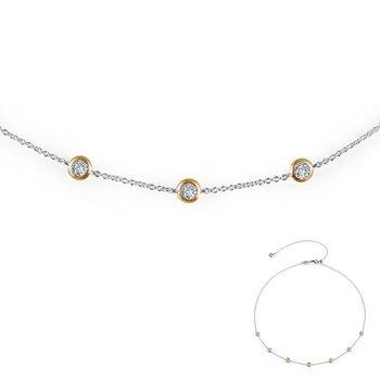 Lafonn Sterling Silver 2-Tone Adjustable Necklace