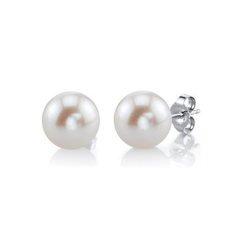 Cultured Pearl Stud Earrings in 4 Sizes