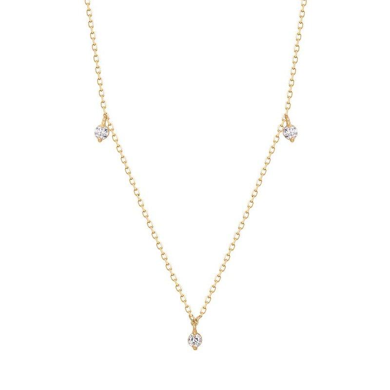 Aurelie Gi Cressida Floating Triple Diamond Necklace