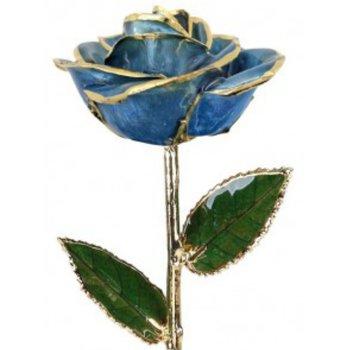 Light Blue Rose - 24KT Trimmed