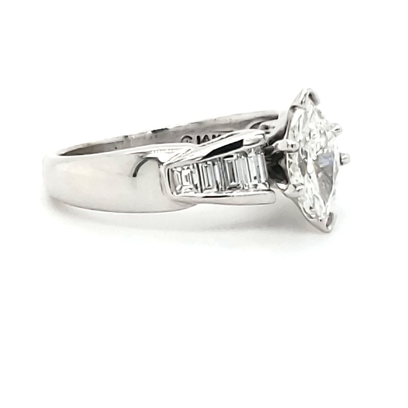 Estate Collection Marquise and Baguette Engagement Ring