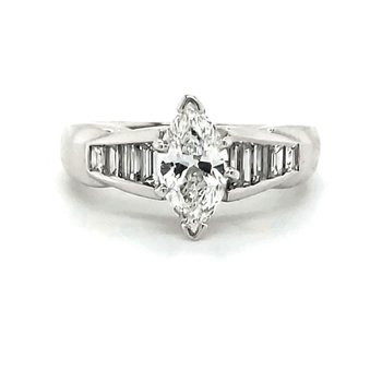 Marquise and Baguette Engagement Ring