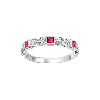 Ruby Mixable Birthstone Rings in 4 Styles