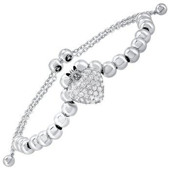 Silver Heart Bolo Bracelet