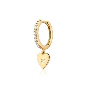 Victoria SINGLE Diamond Heart Hoop