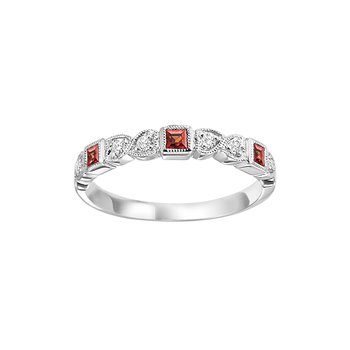 Garnet Mixable Birthstone Rings in 4 Styles