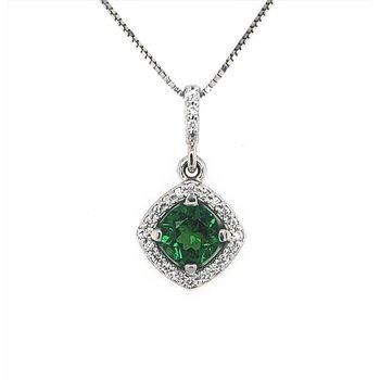 Tsavorite and Diamond Pendant