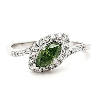 Green Marquise Diamond Ring