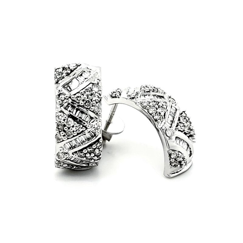 """Estate Collection Modern Pave """"C"""" hoops"""
