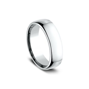 Euro Comfort Fit Wedding Band 6.5mm White Gold