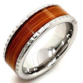 Exotic Wood Inlay Wedding Band