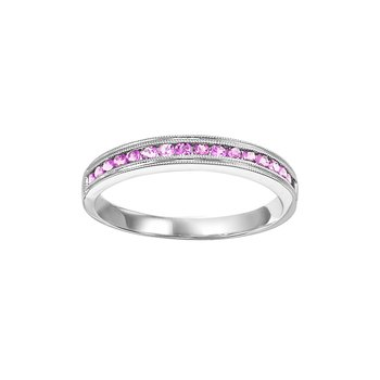 Pink Sapphire Mixable Birthstone Rings in 4 Styles