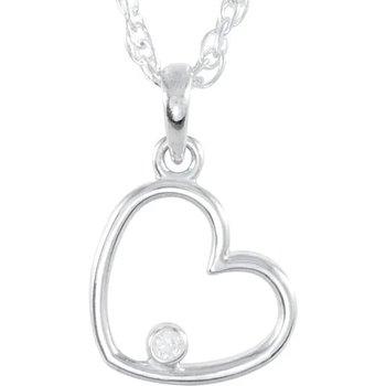 Sterling Silver Diamond Heart Pendant