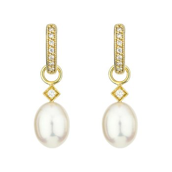 18K Gold Pearl Earring Charms
