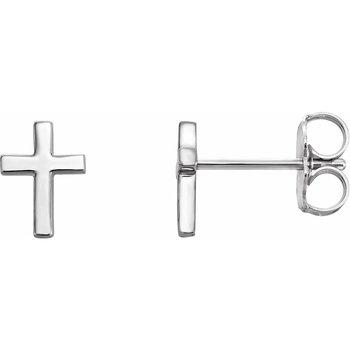 14K White Gold Cross Earrings